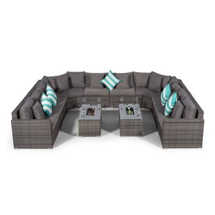 Villasenor Grey Rattan U Shape 10 Seat Sofa With 2 X Rectangle Ice Bucket Coffee Table, Outdoor Patio Garden Furniture By Sol 72 Outdoor