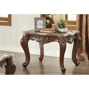 Swayze Marble and Wood Square End Table,