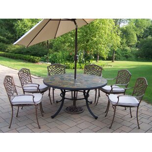 Stone Art Dining Set with Cushions and Umbrella