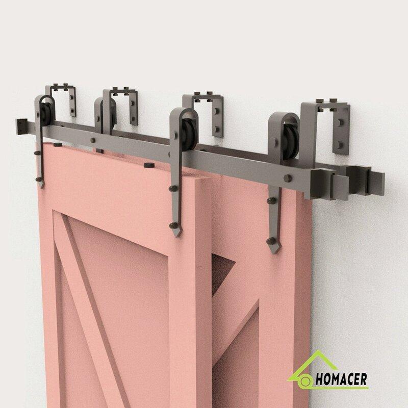 Homacer Arrow Bypass Barn Door Hardware Kit   Wayfair