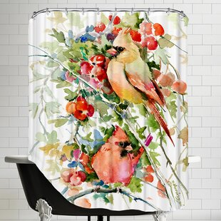 Cardinal Birds Single Shower Curtain