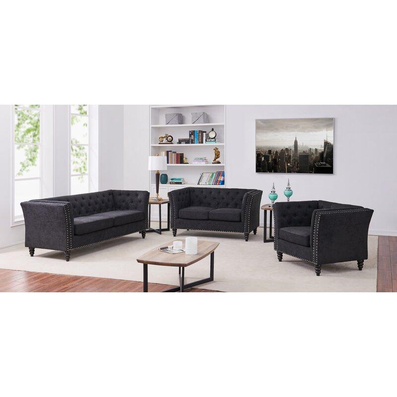 House Of Hampton Schmucker 3 Piece Living Room Set Reviews Wayfair