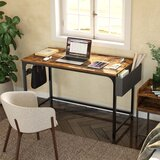 Side Storage Bag and Iron Hooks Desk with Built In Outlets