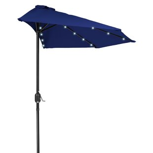 Latitude Run Phipps Patio Half LED Solar Powered 9' Lighted Umbrella