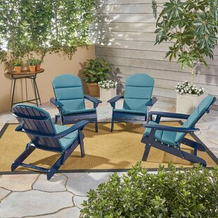 Farris Outdoor Solid Wood Folding Adirondack Chair (Set of 4) by Rosecliff Heights