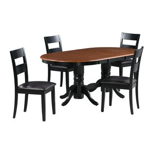 Kaiden 5 Piece Extendable Solid Wood Dining Set