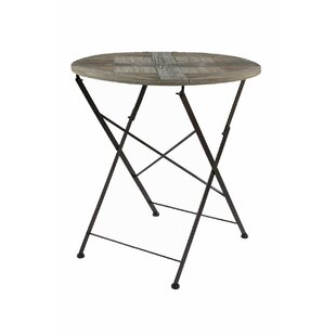 Crawfordsville Recycled Round Cross Folding Wooden Bistro Table