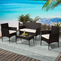 Deals on Latitude Run Boomer 4 Piece Rattan Sofa Seating Group with Cushions