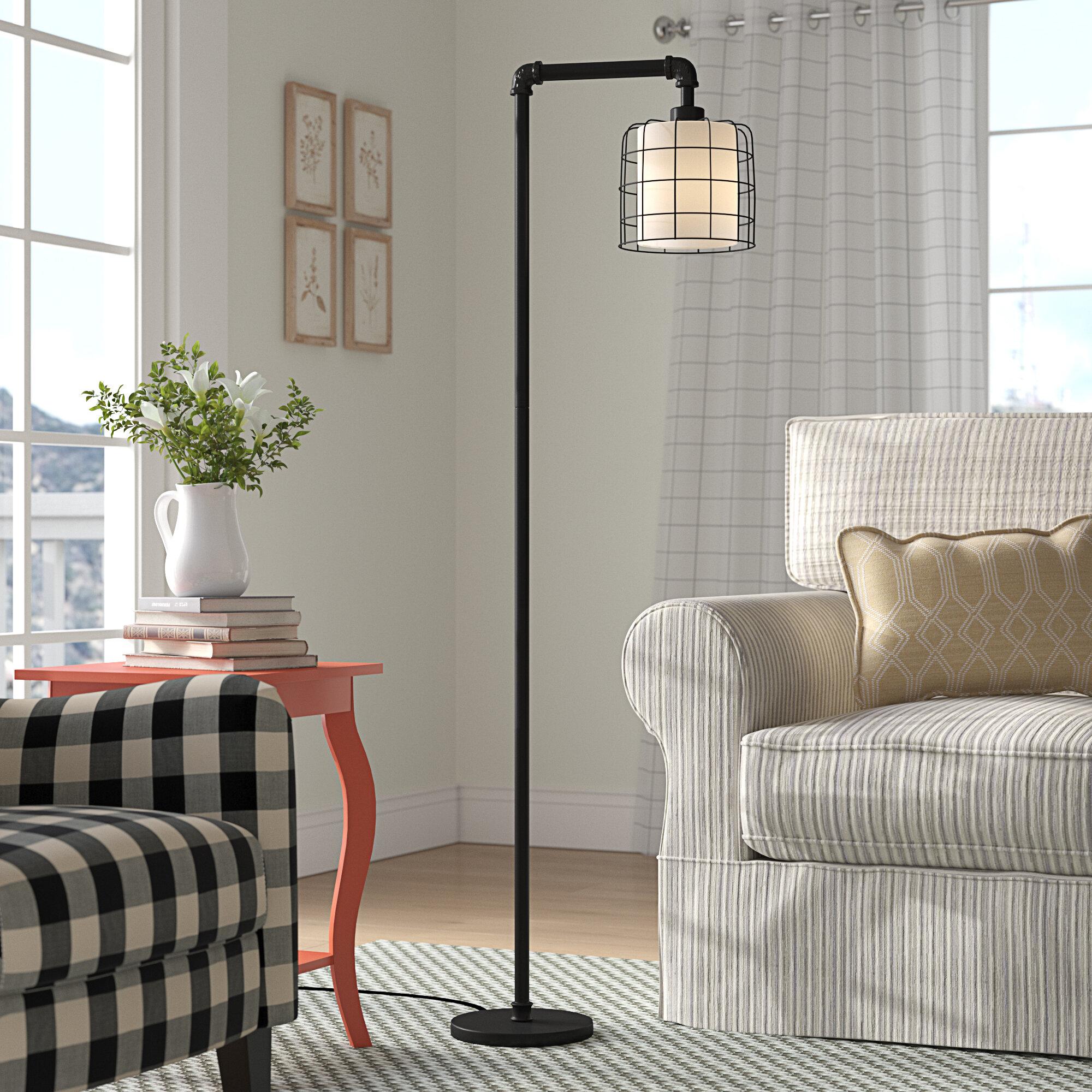 "Tyrone 9.9"" Arched/Arc Floor Lamp"