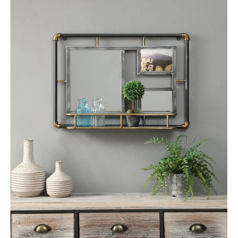 Hille Systems Piping Modern Distressed with Shelves Accent Mirror