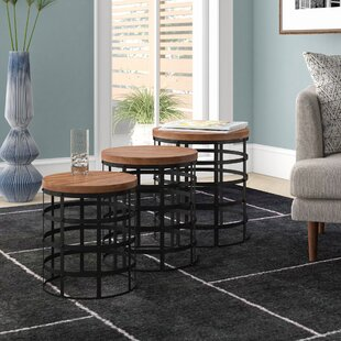 Burling Contemporary Wood And Iron 3 Piece Nesting Tables