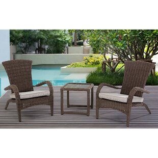Craner Wicker 3 Piece Bistro Set with Cushions