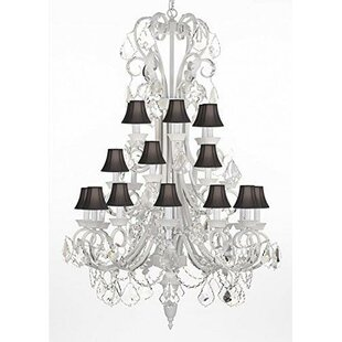 Rosdorf Park Gisele Wrought Iron and Crystal 24-Light Shaded Chandelier