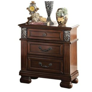 Swank Wooden 3 Drawer Nightstand by Astoria Grand