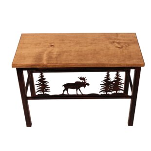 Mary Moose Scene Wood/Metal Bench
