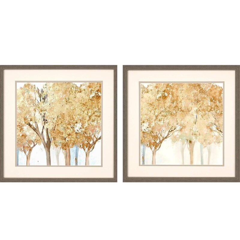 Rosalind Wheeler Walk Along 2 Piece Picture Frame Painting Set On Paper Wayfair