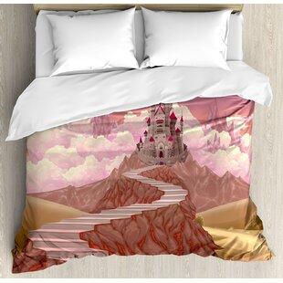 East Urban Home Fairytale Princess Castle Cartoon Like Image on the Hill with Sunset Image Art Print Duvet Set