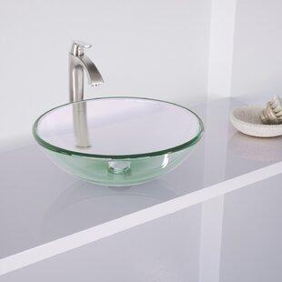 VIGO Crystalline Glass Circular Vessel Bathroom Sink with Faucet VIGO