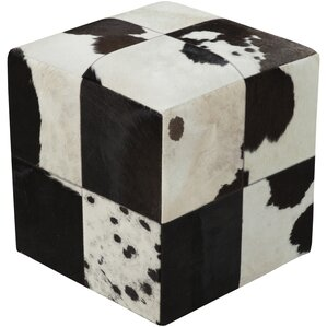Mars Hill Leather Cube Pouf Ottoman by Loon Peak