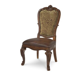 Brussels Genuine Leather Upholstered Dining Chair (Set of 2) Astoria Grand