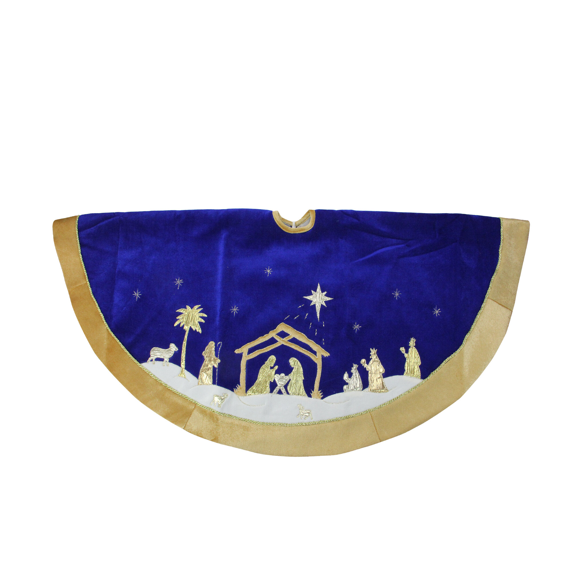 Northlight 48 Blue And Gold Nativity Scene Christmas Tree Skirt With Gold Border Wayfair