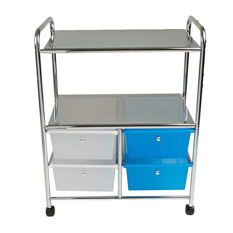 Metal Double Shelf 4 Drawer Rolling Storage Chest