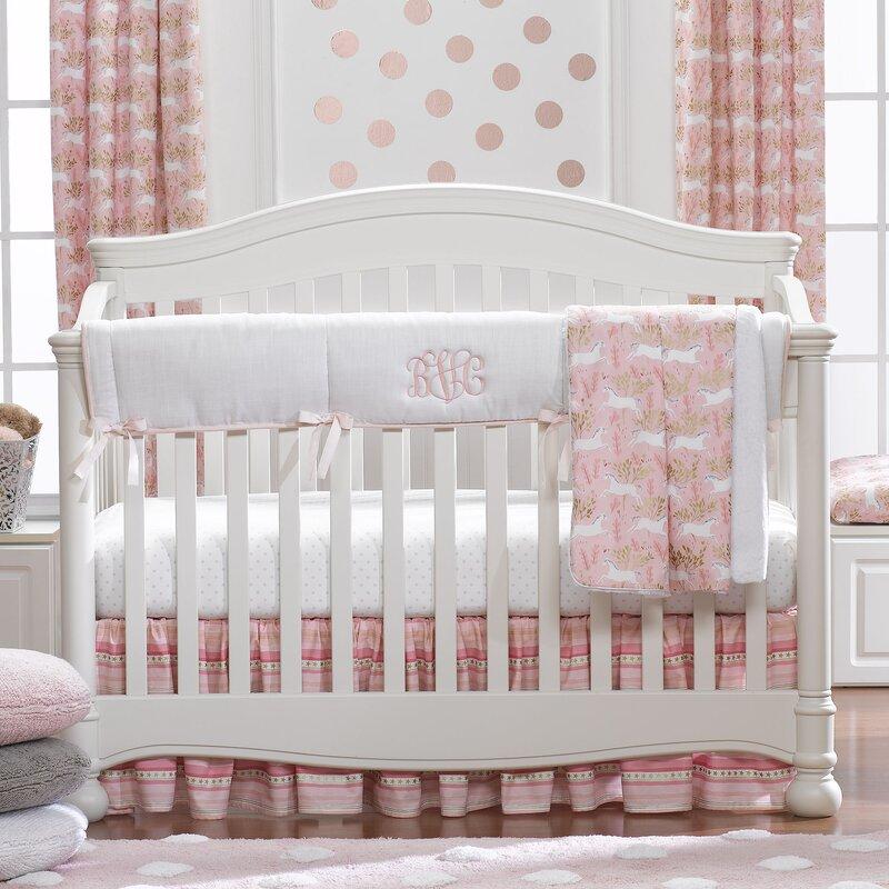 Harriet Bee Cetus Unicorn Bumperless 4 Piece Crib Bedding Set