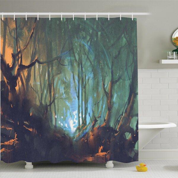 Ambesonne Mystic Dark Forest Artsy Shower Curtain Set