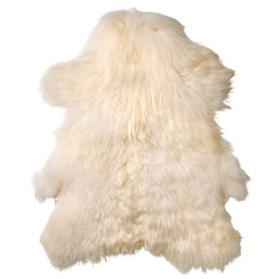 Best Price Creasey Faux Sheepskin White Area Rug ByGeorge Oliver
