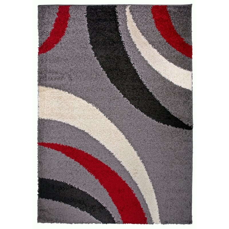 Samantha Cozy Contemporary Abstract Red Area Rug