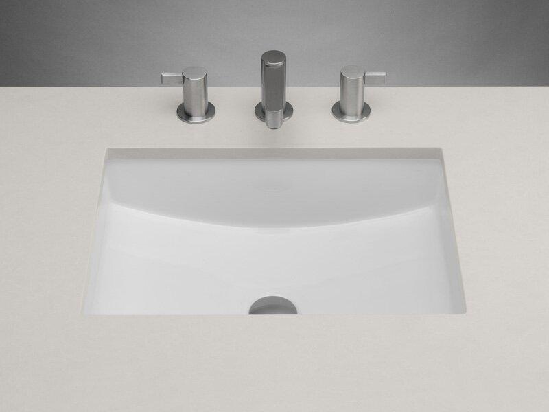 Plane Ceramic Rectangular Undermount Bathroom Sink with Overflow
