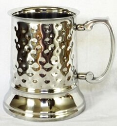 Marlee Tankard Beer Hammered 16 oz. Stainless Steel Mugs