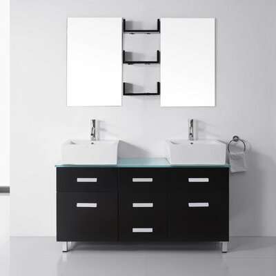 "Bathroom Vanity Glass Top virtu usa ultra modern series 56"" double bathroom vanity set with"