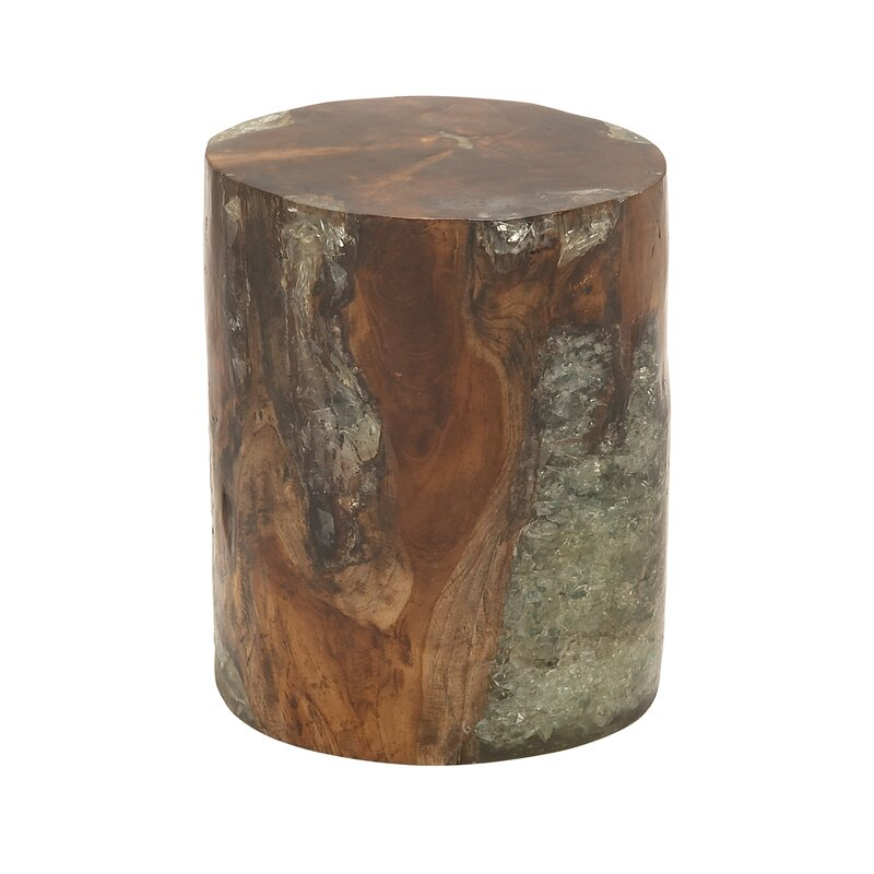 Beautiful Wood Teak And Resin Garden Stool