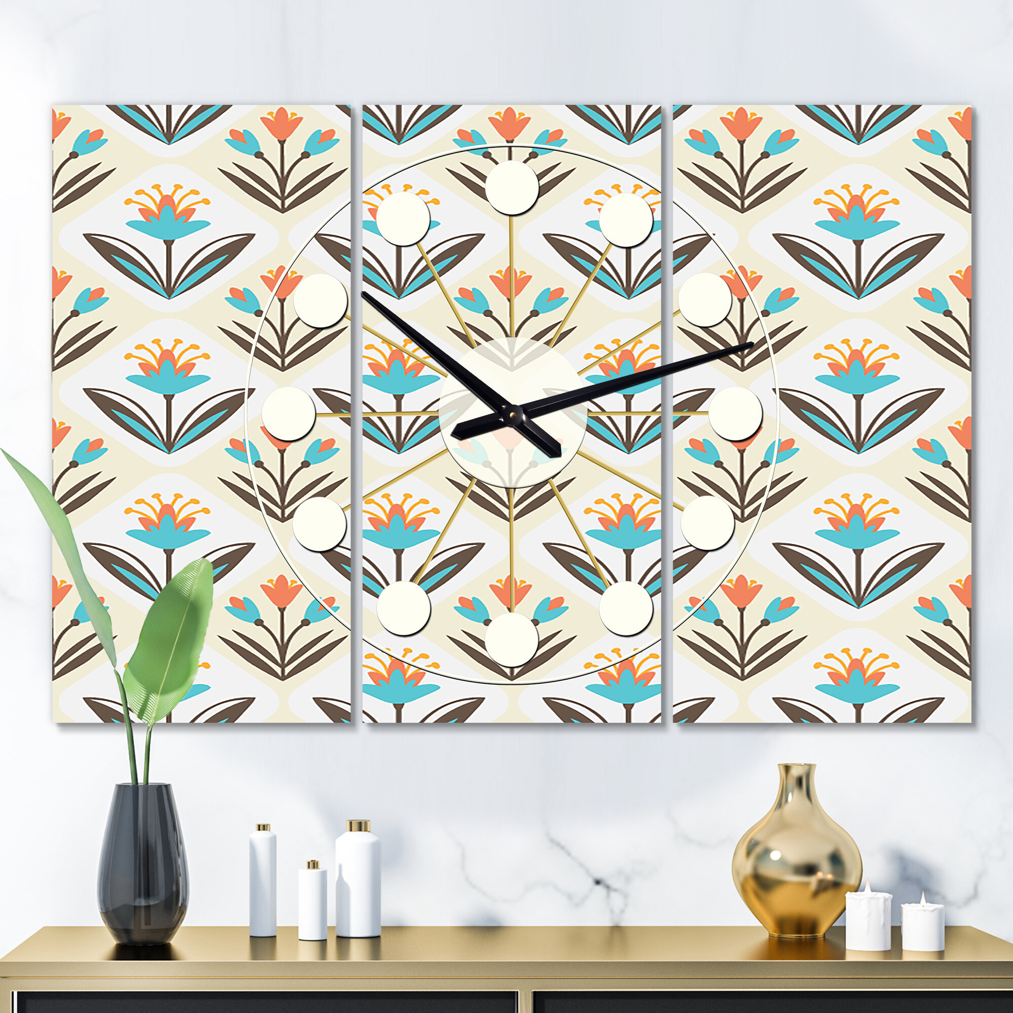 East Urban Home Oversized Pattern With Floral Ornament Mid Century Wall Clock Wayfair