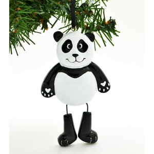Panda Personalized Christmas Ornament with Dangle Leg Hanging Figurine