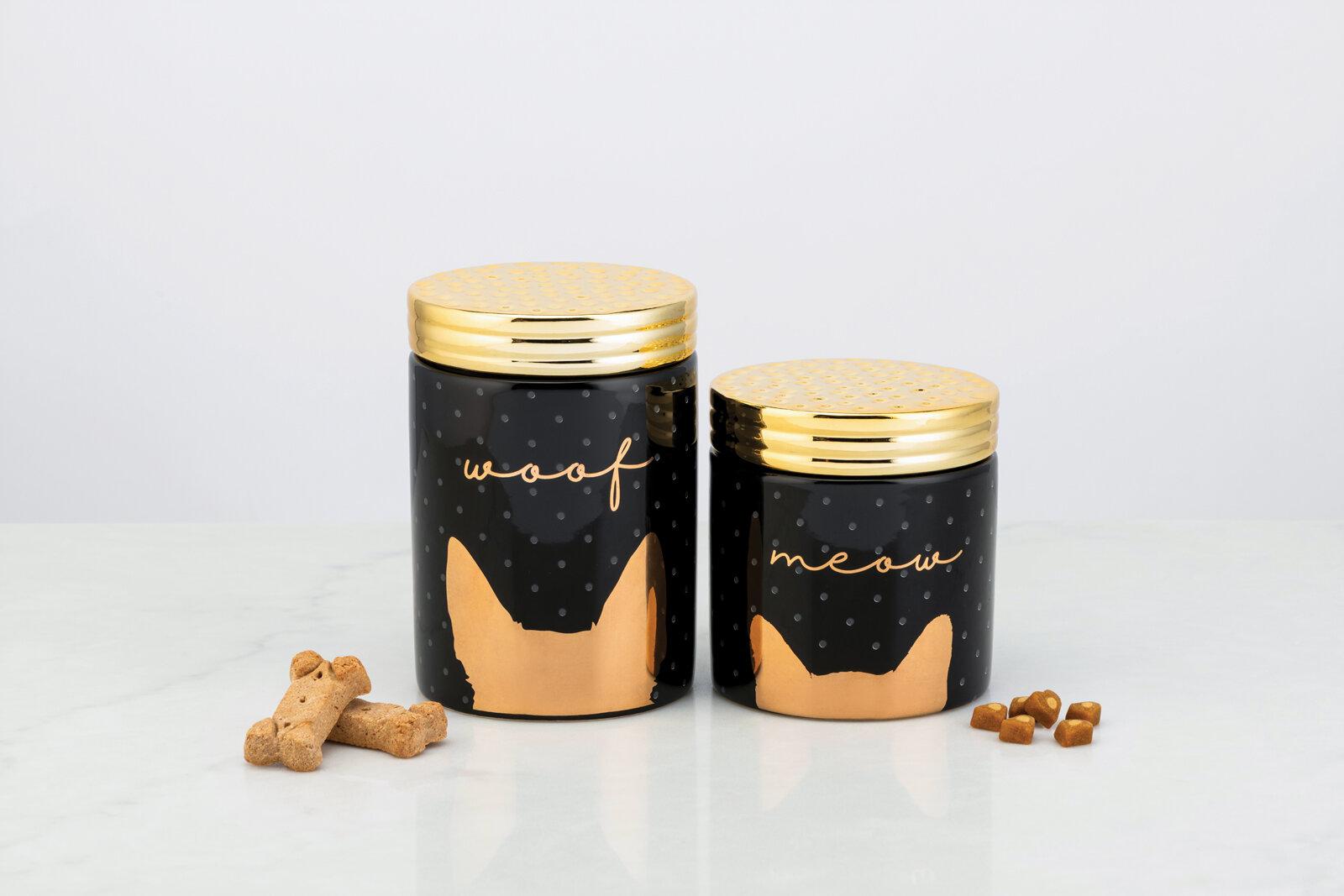 Tucker Murphy Pet Woof And Meow Ceramic 2 Piece Pet Treat Jar Set Wayfair