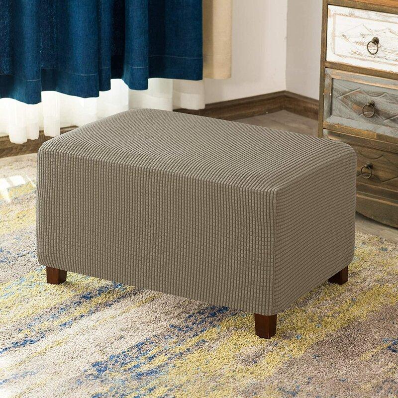 Aolise Stretchy Washable Textured Grid Box Cushion Ottoman Slipcover