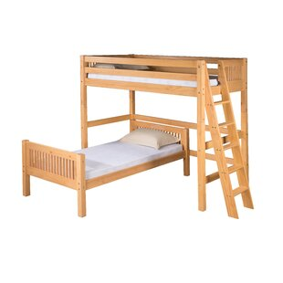 Oakwood L-Shaped Wood Frame Bunk Bed