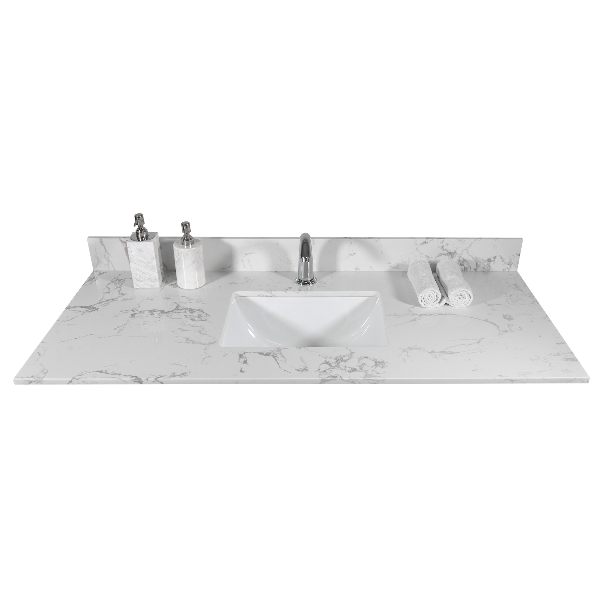 Modison Home 43 X22 Bathroom Stone Vanity Top Engineered Stone Carrara White Marble Color With Rectangle Undermount Ceramic Sink And Single Faucet Hole With Back Splash Wayfair