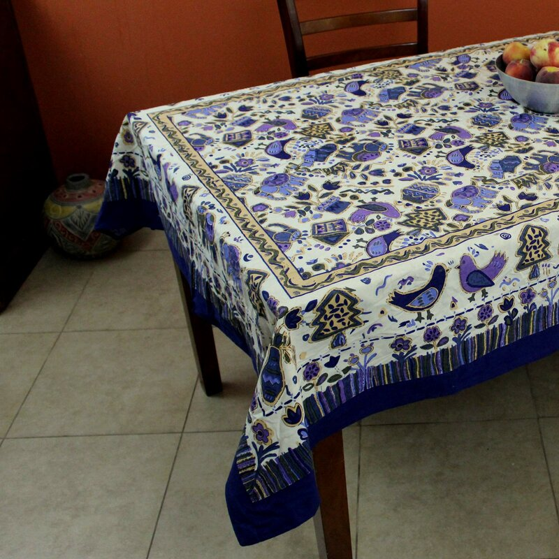 World Menagerie One Cotton Birds Avian Tablecloth