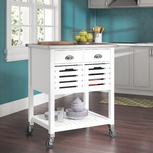 Fulton Kitchen Cart with Stainless Steel Red Barrel Studio