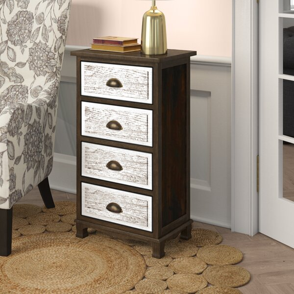 Ophelia & Co. Villalvazo Solid Wood 4 - Drawer Accent Chest