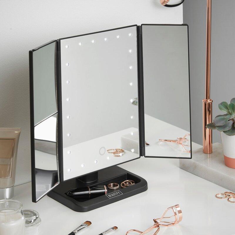 Makeup vanity with lights wayfair led lighted vanity trifold makeupshaving mirror aloadofball Choice Image