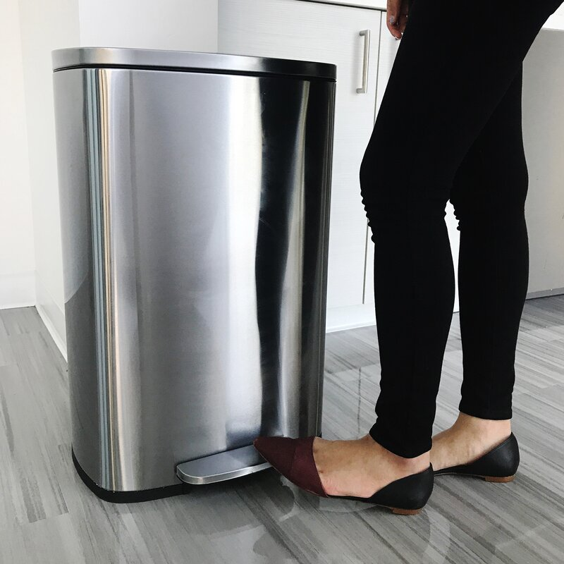 Soft Step Stainless Steel 13 Gallon On Trash Can