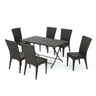 Sharvil Outdoor Wicker 7 Piece Dining Set