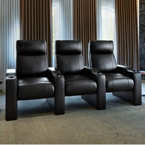 Leather Manual Rocker Recline Home Theater Sofa (Row of 3) by Freeport Park
