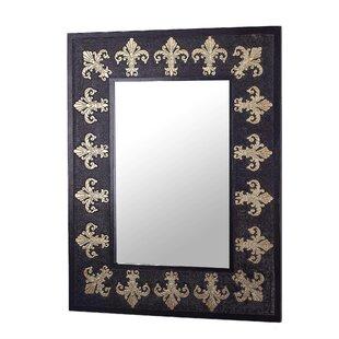 Dumt Fleur De Lis Leather Wall Mirror
