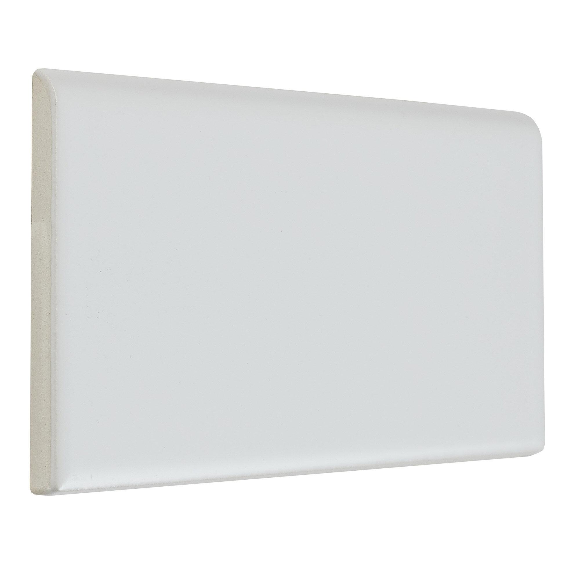 Guilford 6 X 3 Ceramic Bullnose Tile Trim In Matte Arctic White