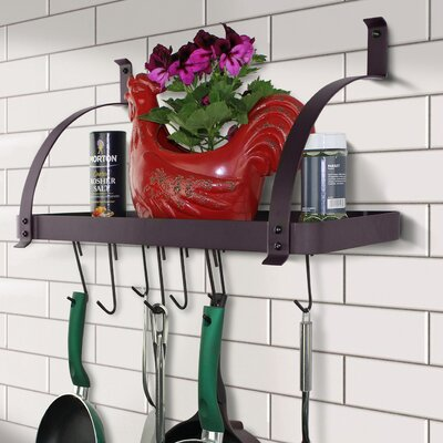 Rack It Up! One Piece Rim Bookshelf Wall Mounted Pot Rack Finish: Bordeaux